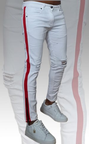 Jeans Blancos Franja Lateral